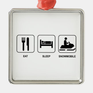 Eat Sleep Snowmobile Metal Ornament