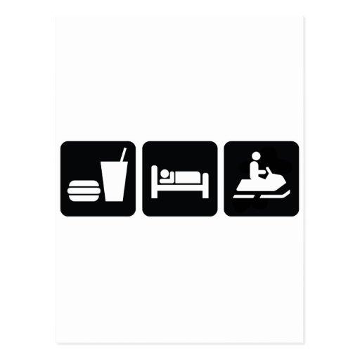 Eat Sleep Snowmobile Postcard