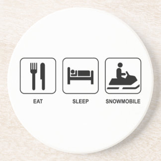 Eat Sleep Snowmobile Sandstone Coaster