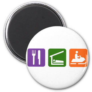 Eat Sleep Snowmobiling 2 Inch Round Magnet