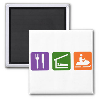 Eat Sleep Snowmobiling 2 Inch Square Magnet