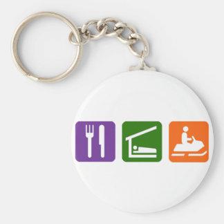 Eat Sleep Snowmobiling Basic Round Button Keychain