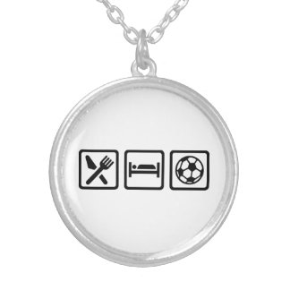 Eat sleep soccer round pendant necklace