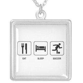 Eat Sleep Soccer Square Pendant Necklace