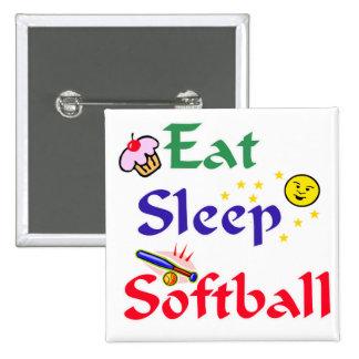 Eat Sleep Softball Buttons