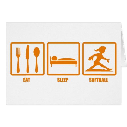 Eat Sleep Softball Card