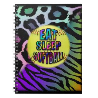 Eat Sleep Softball Double Wild Animal Print Notebook