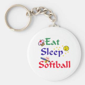 Eat Sleep Softball Keychain