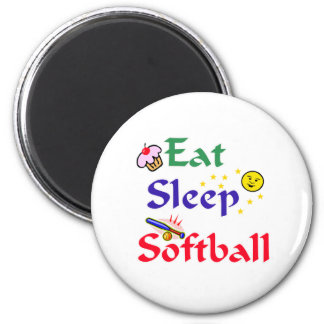 Eat Sleep Softball 2 Inch Round Magnet