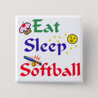Eat Sleep Softball Pinback Button