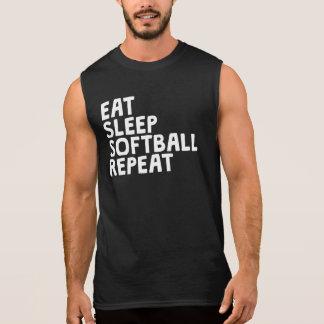 Eat Sleep Softball Repeat Sleeveless Shirt