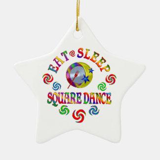 Eat Sleep Square Dance Ceramic Ornament