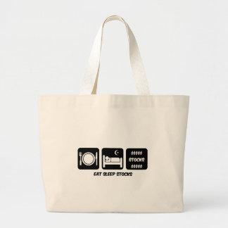 eat sleep stocks jumbo tote bag