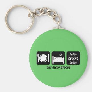 eat sleep stocks keychain