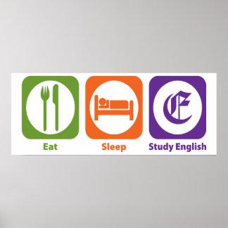 Eat Sleep Study English Poster