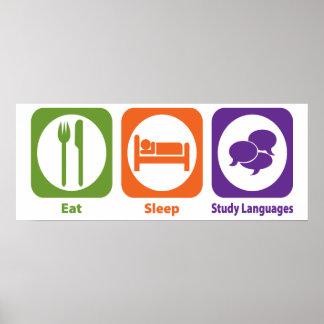 Eat Sleep Study Languages Poster