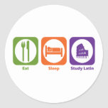 Eat Sleep Study Latin Round Stickers