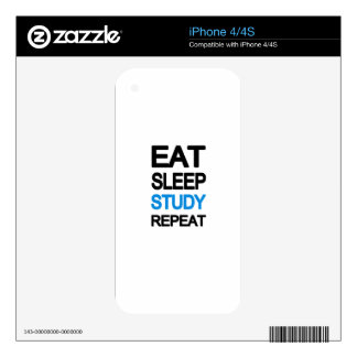 Eat sleep study repeat decal for the iPhone 4S
