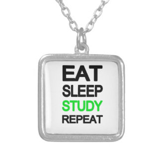 Eat sleep study repeat silver plated necklace