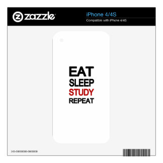 Eat sleep study repeat skins for the iPhone 4S