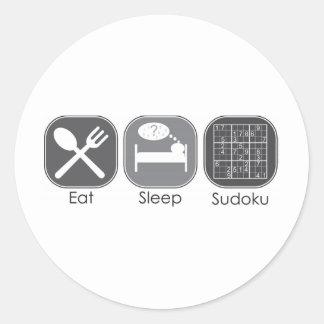 Eat Sleep Sudoku Copy Classic Round Sticker