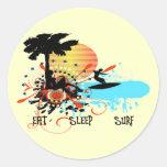 Eat Sleep Surf Round Stickers