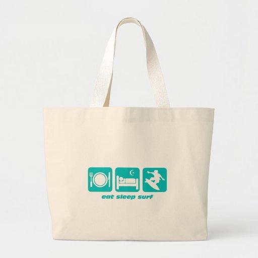 Eat sleep surf tote bags
