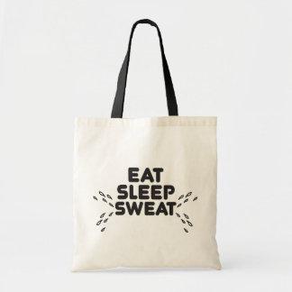 eat sleep sweat - funny sports tote bag