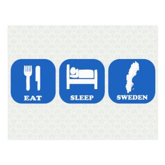 Eat Sleep Sweden Postcard