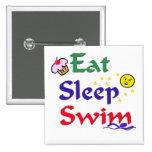 Eat Sleep Swim 2 Inch Square Button