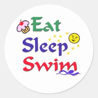 Eat Sleep Swim Classic Round Sticker