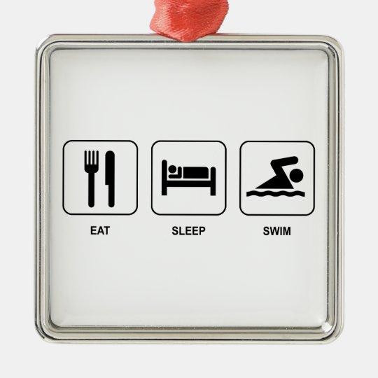 Eat Sleep Swim Metal Ornament