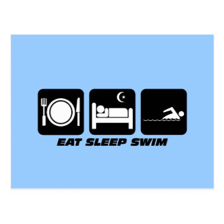 eat sleep swim postcard