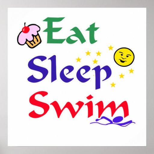 Eat Sleep Swim Poster