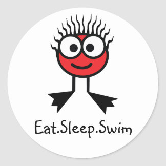 Eat.Sleep.Swim- Red Character Stickers