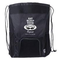 Eat Sleep Swim Repeat Custom Swimmer's Drawstring Backpack