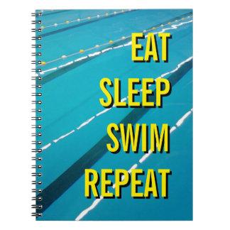 EAT SLEEP SWIM REPEAT notebook journal