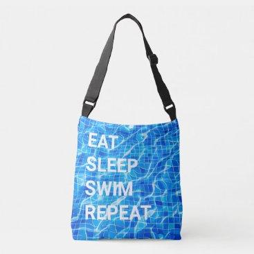 Eat Sleep Swim Repeat Swimming Pool Aquatic Crossbody Bag