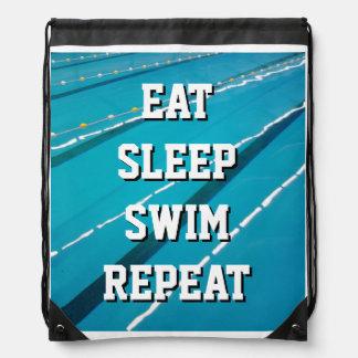 EAT SLEEP SWIM REPEAT swimming pool coach backpack