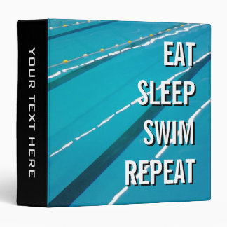EAT SLEEP SWIM REPEAT swimming pool ring binder