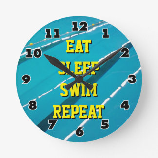 EAT SLEEP SWIM REPEAT swimming pool wall clock
