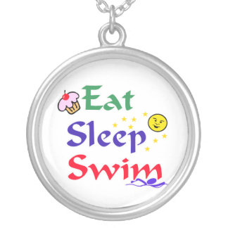 Eat Sleep Swim Silver Plated Necklace