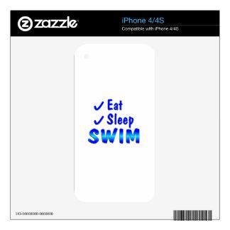 Eat Sleep Swim Skin For The iPhone 4