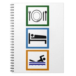 Eat Sleep Swim Spiral Notebook
