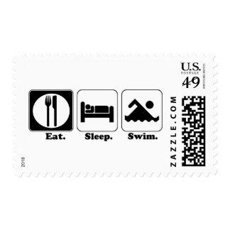 eat sleep swim stamp