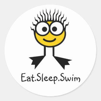 Eat.Sleep.Swim- YellowCharacter Stickers