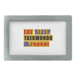 EAT SLEEP TAEKWONDO AND REPEAT RECTANGULAR BELT BUCKLE