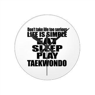 EAT SLEEP TAEKWONDO ROUND CLOCK