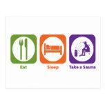 Eat Sleep Take a Sauna Postcards