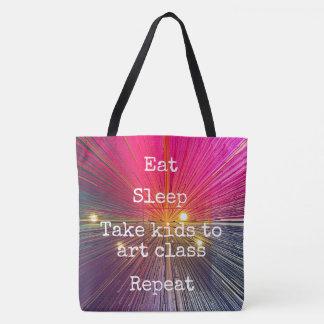 """""""Eat. Sleep. Take Kids to Art Class. Repeat."""" Pink Tote Bag"""